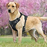 Idepet No-Pull Dog Harness with Handle Adjustable Reflective Pet Harness Vest Easy Control for Small Medium Large Dogs Training Walking Hiking Black(L)