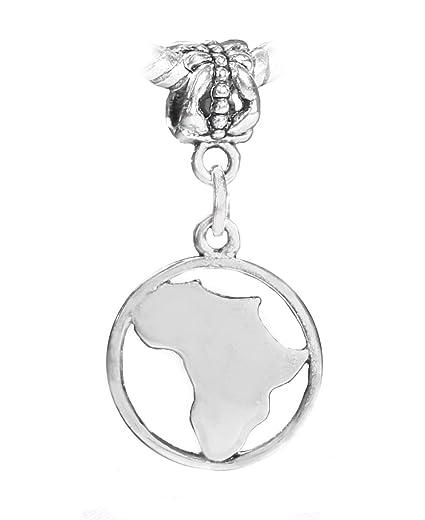 Amazon.com: Abalorio de plata con diseño de mapa de África ...