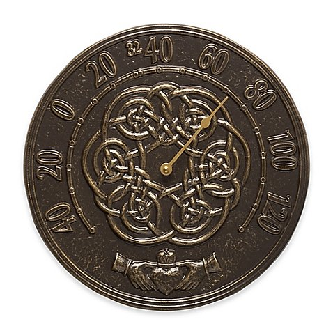 Whitehall Products Irish Blessings Indoor/Outdoor Wall Thermometer in French Bronze by Whitehall