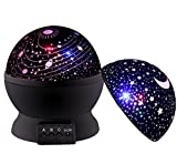 Newest SCOPOW Rotating Universe Cover and Star Cover Night Lighting 3 Mode Lamp Romantic Projector - Rotation Night Projection Lamp Kids Bedroom Bed Lamp for Christmas Children Baby Girl Boy (Black)