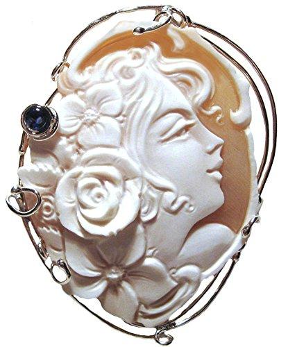 (Lady Rose Cameo Pin Pendant Enhancer Master Carved, Sardonyx Shell Sterling Silver Italian)