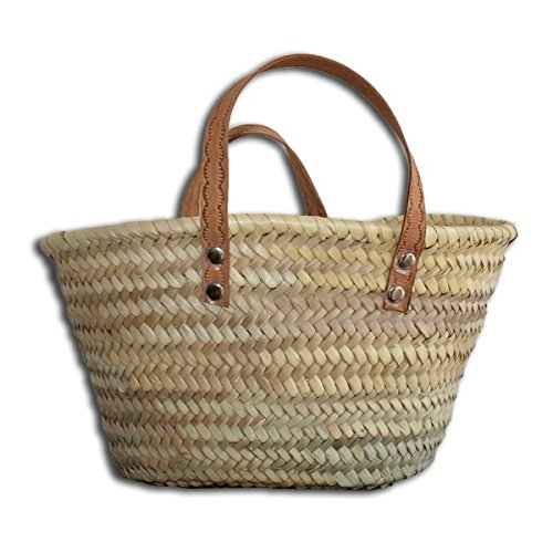 Small Straw Basket with Leather Handles vannerie sana