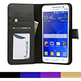 Galaxy Grand Prime Case, Abacus24-7 Wallet Case w/ Flip Cover, Black