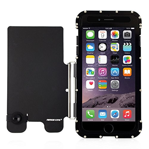 Alienwork Metal Gear Case for iPhone 6 Plus/6s Plus Shock Proof Bumper Cover Stand Stainless Steel black AP6P12-01