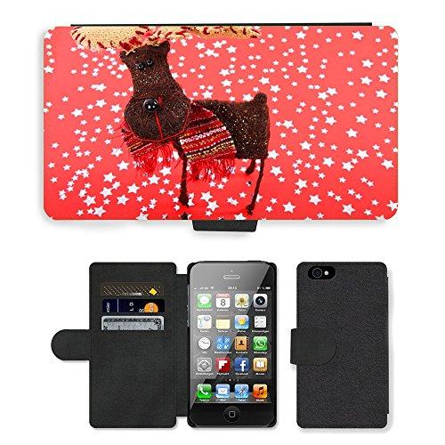 Just Phone Cases PU Leather Flip Custodia Protettiva Case Cover per // M00128405 Célébration de Noël animal mignon // Apple iPhone 4 4S 4G