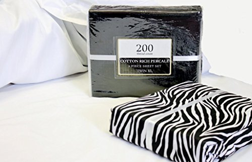 Set of 2 (Two) Twin Size Solid and Printed Cotton Rich Percale 6 Piece Sheet Set (Black/Zebra)