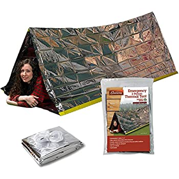 Emergency Thermal Tent- Reflective Mylar Survival Shelter- XL Size Waterproof Tube Tent Retains Heat and Fits 2 Adults in All Weather