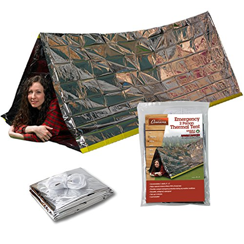 Grizzly Gear Emergency Thermal Tent- Reflective Mylar Survival Shelter- XL Size Waterproof Tube Tent Retains Heat and Fits 2 Adults in All Weather ()