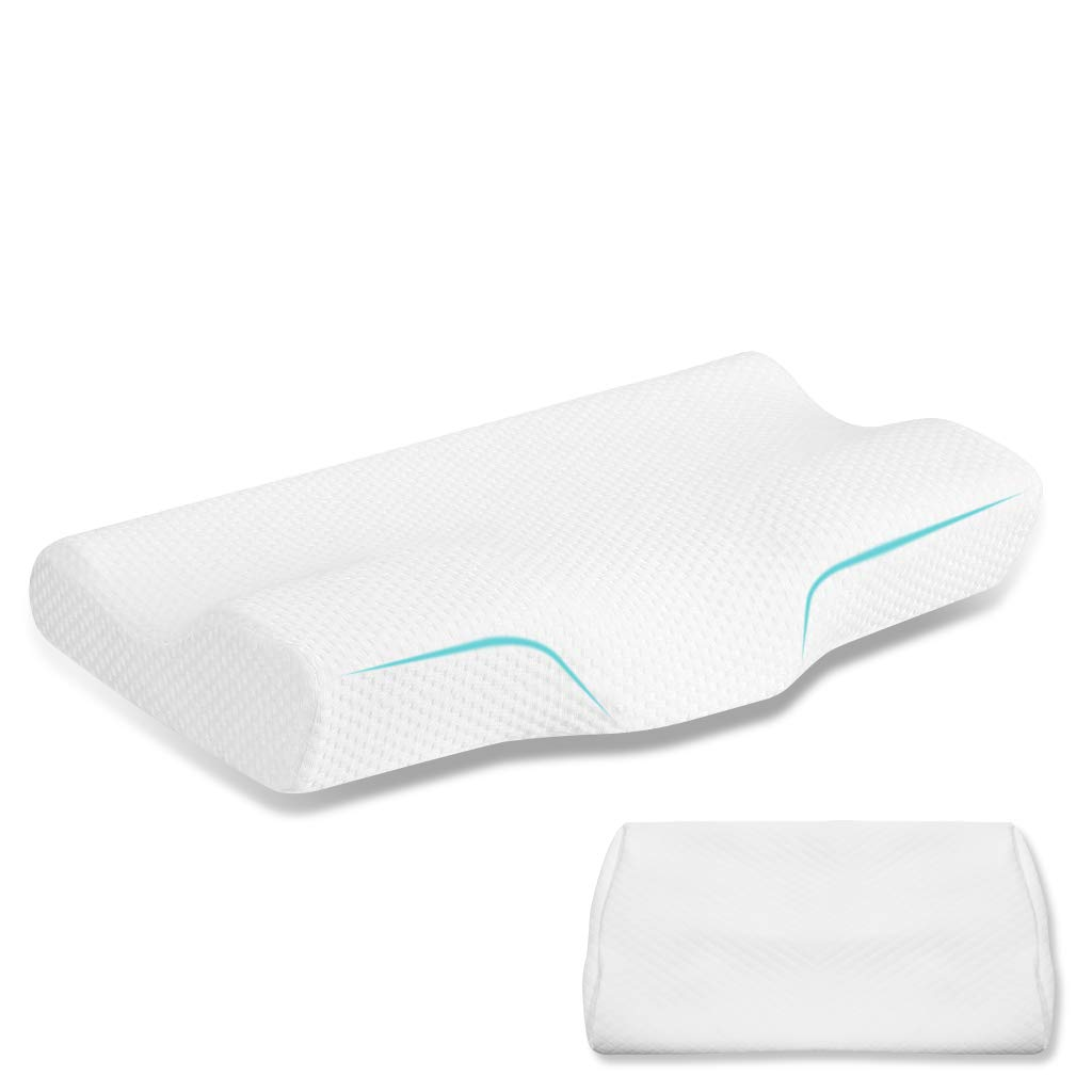Emolli Contour Memory Foam Pillow, Orthopedic Pillows 24''x12'' for Neck Pain Ergonomic Pillow and Back Sleepers Side Sleepers & Stomach Sleepers with 2 Pillowcase 24x13 Inch, Slightly Hard