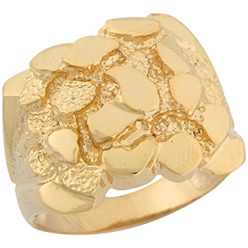 10k Solid Yellow Gold Brilliant Mens Nugget Ring (Ring Gold Nugget Yellow)