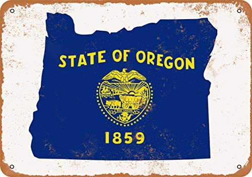 (Wall-Color 10 x 14 Metal Sign - Oregon State Flag Design - Vintage Look )