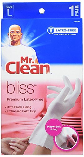 Mr. Clean Bliss Premium Latex-Free Gloves, Large, 2 pairs (Soft Rubber Large)
