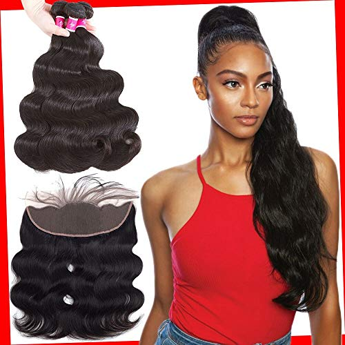 Sky Brazilian Body Wave 3 Bundles With Lace Frontal (16 18 20+14) 100% Human Hair Bundles With 13x4 Ear To Ear Frontal Lace Closure With Baby Hair Unprocessed Human Hair Extensions Natural Black