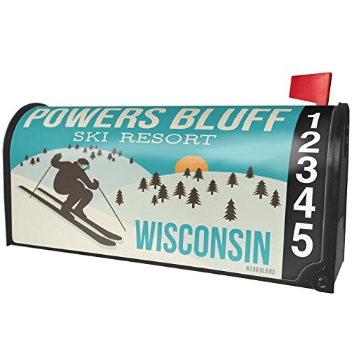 NEONBLOND Powers Bluff Ski Resort - Wisconsin Ski Resort Magnetic Mailbox Cover Custom Numbers by NEONBLOND (Image #2)