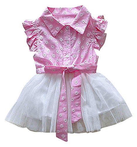 - BPrincess Girls' Cap Sleeves With Ruffles Floral Print Buttoned Belted Tutu Dress, Pink2 12-18 Months