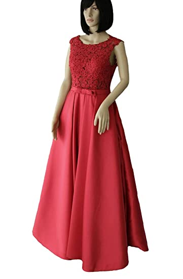 a960afd73cf0 Dearta Womens A-Line Scoop Floor Length Lace Satin Prom Dresses Gown Red .