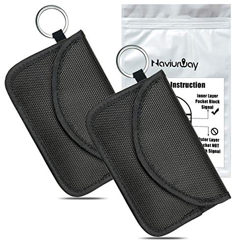 (Naviurway 2Pack Key Fob Signal Blocking Bag Automobile RFID Blocking Holder Anti-Hacking Security Bag for Car Smart Keyless Entry Remote Fob Controller Black)