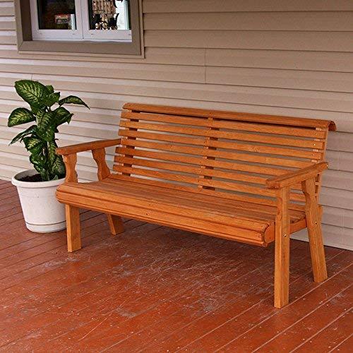 Amish Heavy Duty 800 Lb Roll Back Pressure Treated Garden Bench (5 Foot, Cedar Stain)