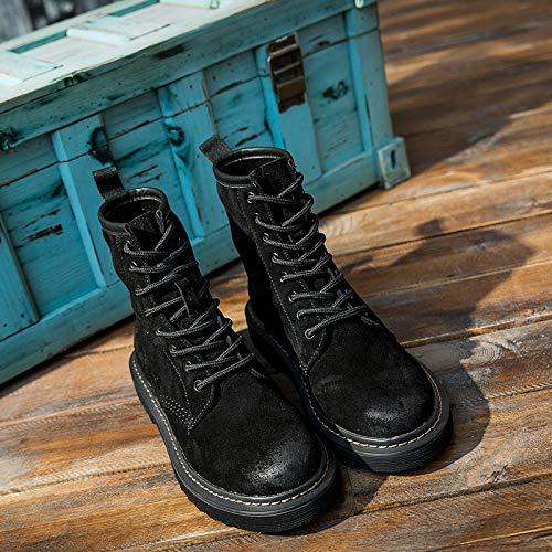 Lianaiec Herrenstiefel Paar Lederausstattung Schuhe Stiefeletten Männer Und Frauen Lokomotive Matte Hohe Schuhe Im Freien