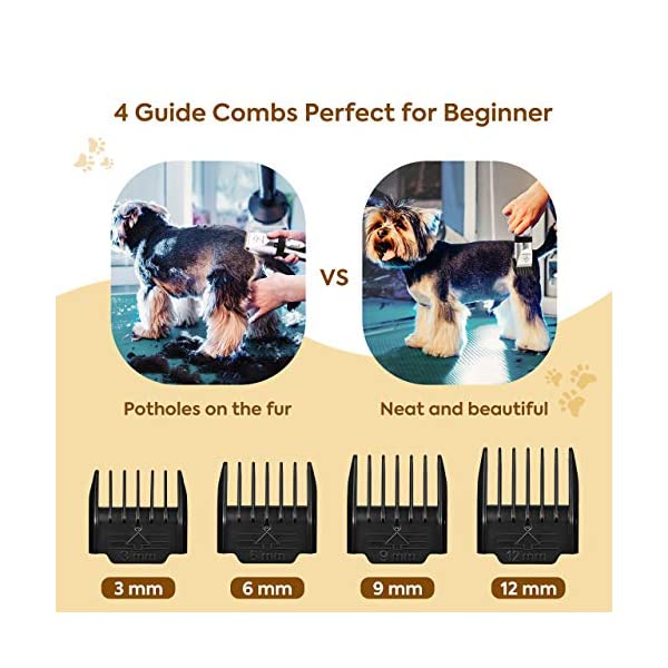 OMORC Dog Clippers, Low Noise Dog Grooming Kit Rechargeable Cordless Dog Shaver Pet Clippers Professional Dog Hair Trimmer with 4 Comb Guides Scissors Nail Kits for Dogs Cats and Other Animals 5