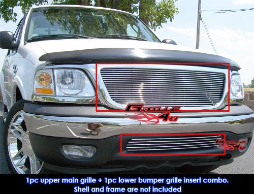 APS Compatible with 1999-2003 Ford F-150 2WD Billet Grille Combo F87685A ()