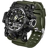 Men's Military Watch, Dual-Display Waterproof Sports Digital Watch Big Wrist for Men with Alarm (Army Green)