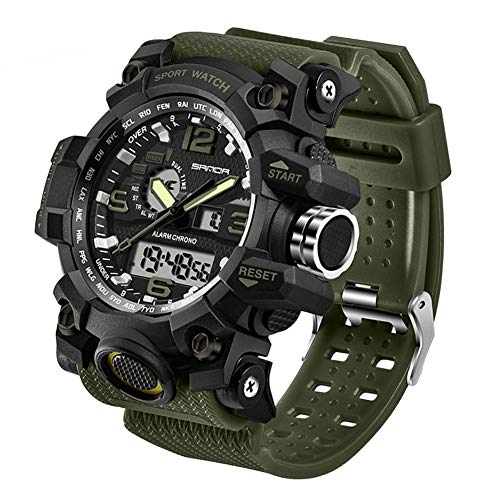 Men's Military Watch, Dual-Display Waterproof Sports Digital Watch Big Wrist for Men with Alarm