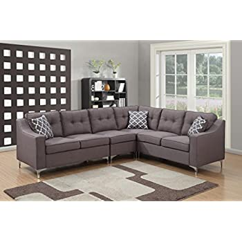AC Pacific 4 Piece Kayla Collection Modern Linen Fabric Upholstered Tufted  L Shaped Living Room Sectional, Grey