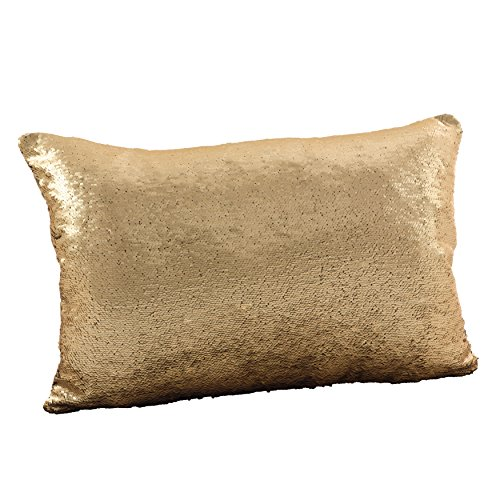SARO LIFESTYLE Sirun Collection Sequin Mermaid Design Down Filled Throw Pillow, 16 x 24 , Gold