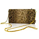 Marino Orlandi Italian Designer Cheetah Printed Leather Wallet Clutch w/Chain