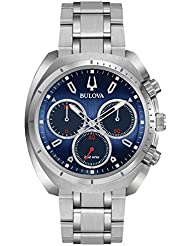 Bulova Mens Curv Collection Quartz Stainless Steel Casual Watch, Color:Silver-Toned (Model: 96A185)