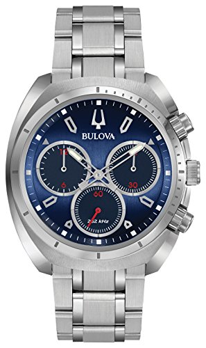 Men's Curv Collection Analog-Quartz Watch with Stainless-Steel Strap, Silver, 22 (Model: ) - Bulova 96A185