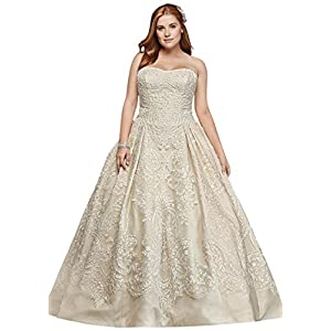 e1d600f355 David s Bridal Ruffled Skirt Wedding Gown with Embellished Waist ...