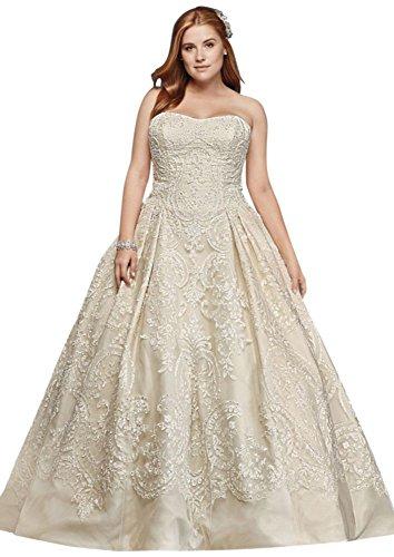 David's Bridal Oleg Cassini Plus Size Lace Tulle Wedding Dress Style 8CWG635, Solid Ivory, (Oleg Cassini Bridal Dresses)
