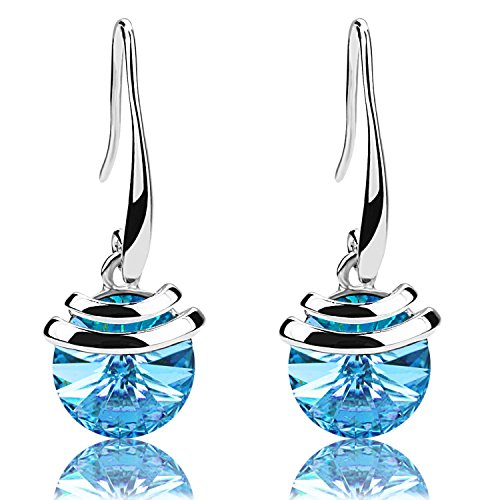 Crystal French Wire Dangle Drop Earrings (Blue)