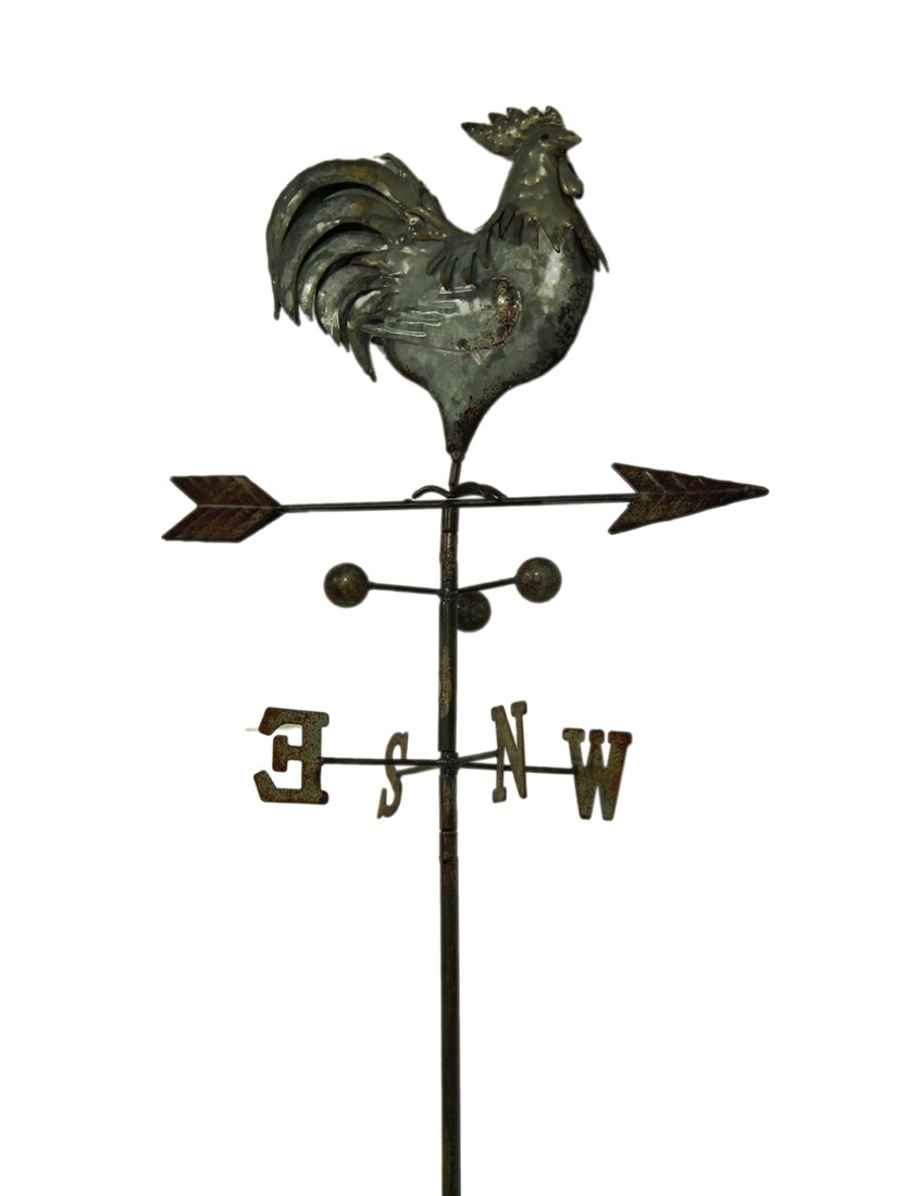 Metal Garden Stakes Glossy Galvanized Rustic Metal Rooster Weather Vane Garden Stake Statue 15 X 44.5 X 9 Inches Rust