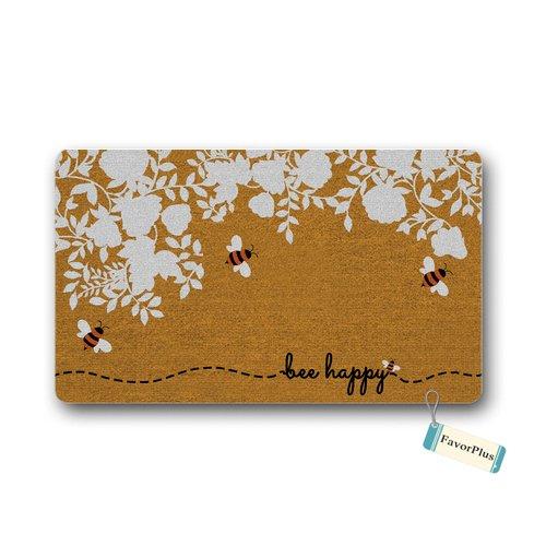 Funny Doormat - Bee Happy Outdoor/Indoor Non Slip Decor Floor Door Mat Area Rug for Entrance 18X30 inch