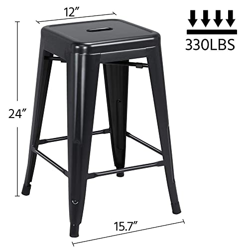 Yaheetech 24 inch barstools Set of 4 Counter Height Metal Bar Stools, Indoor Outdoor Stackable Bartool Industrial High Backless Stools Black, Capacity 331 lb