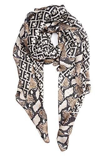 (YOUR SMILE Ladies/Women's Lightweight Floral Print/Solid Color mixture Shawl Scarf For Spring Summer season (Snake-Grain))