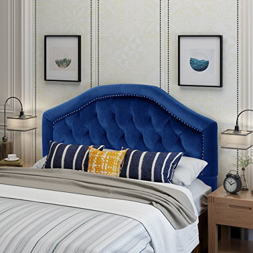 Lazarus Navy Blue Velvet Queen/Full Headboard (Headboard Navy Velvet)