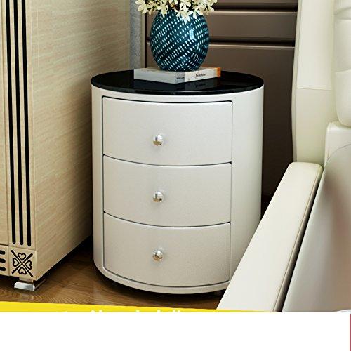 Round bedside table Simple modern White mini edge European locker Bedside cupboard-A by EWYGFRFVQAS