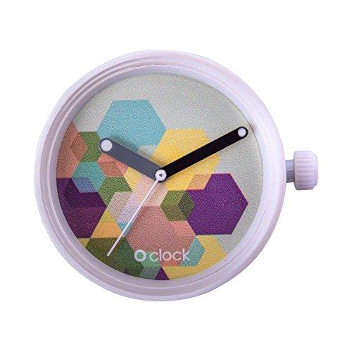O Clock Fullspot. Caja.Mecanismo mix de gráficos, hexágonos, ...