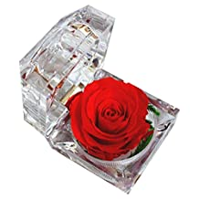 DeFancy Handmade Preserved Flower Rose with Acrylic Crystal Ring Box for Proposal Engagement (Red)
