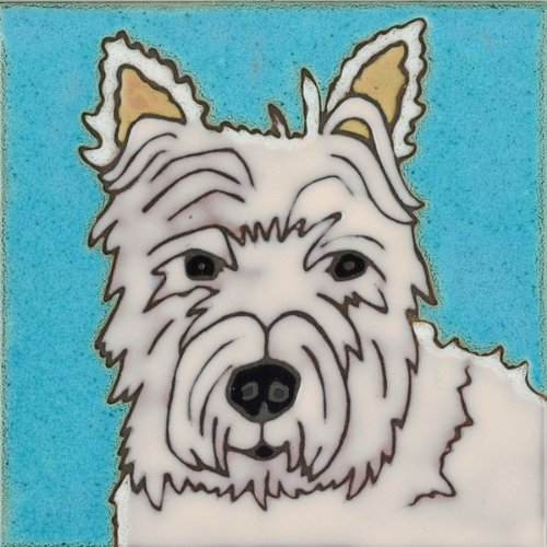 - Pacific Blue Tile Original Hand Painted Ceramic Art Tile, 6 x 6 inch - West Highland Terrier