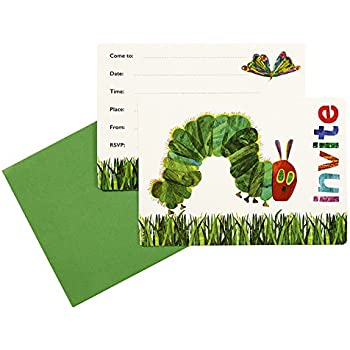 Amazon talking tables the very hungry caterpillar invitations kids birthday party supplies decorations party invitation cards eric carle very hungry caterpillar green 24 count filmwisefo