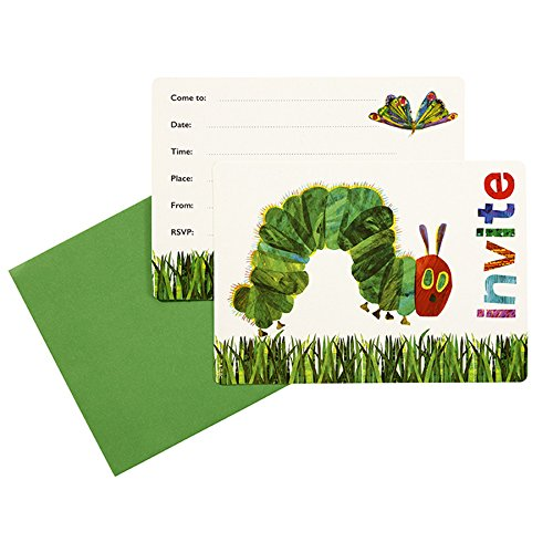 Kids Birthday Party Supplies & Decorations Party Invitation Cards Eric Carle Very Hungry Caterpillar Green 24 Count