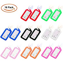 TopTops 16pcs Luggage Tags Plastic Square-shape with Name Card, DIY Travel Suitcase Luggage Backpack Identifier Tags Baggage Labels- 8 Colors.