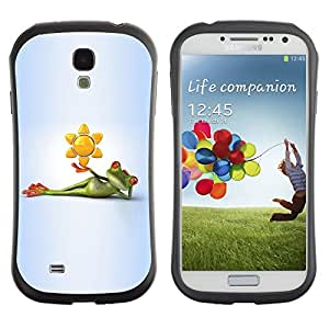 LASTONE PHONE CASE / Suave Silicona Caso Carcasa de Caucho Funda para Samsung Galaxy S4 I9500 / Frog Cartoon Grey Gray Green White