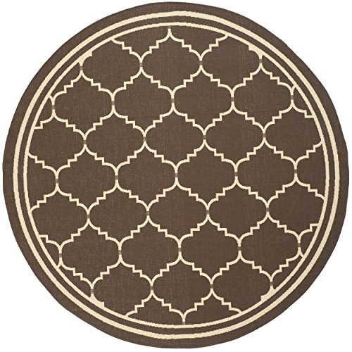 (Safavieh Courtyard Collection CY6889-204 Chocolate and Cream Indoor/ Outdoor Round Area Rug (6'7