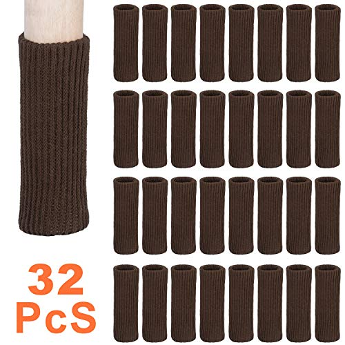 Chair Socks - 32 Pcs Knitted Furniture Feet Socks Chair Leg Floor Protectors, Anti Slip Furniture Booties, Avoid Scratches and Reduce Noise, Move Easily, Coffee Furniture Pads
